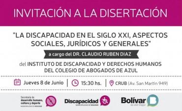 Se brindará una charla sobre discapacidad en el Siglo XXI a cargo del Dr. Claudio Rubén Díaz