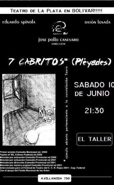 Siete Cabritos (Pleyades): Teatro de La Plata en el taller, este sábado