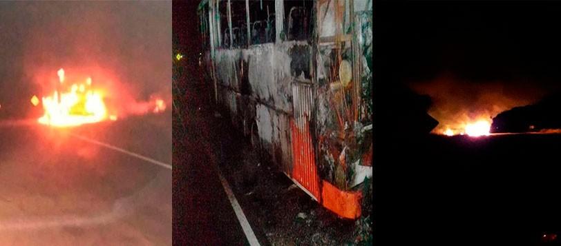 Ruta 65: Incendio total de un micro