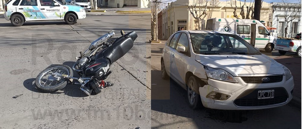 Violento accidente en Dorrego y Alsina dejo como saldo un motociclista hospitalizado