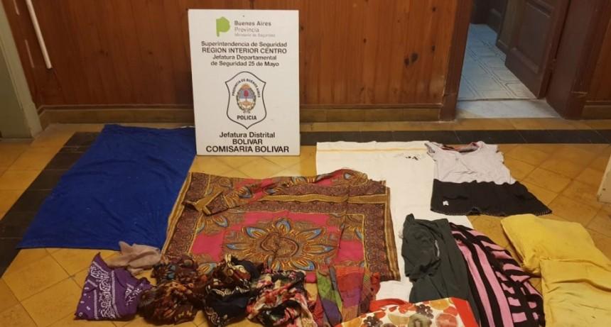 Se logró recuperar una gran cantidad de ropa que había sido sustraída de una vivienda