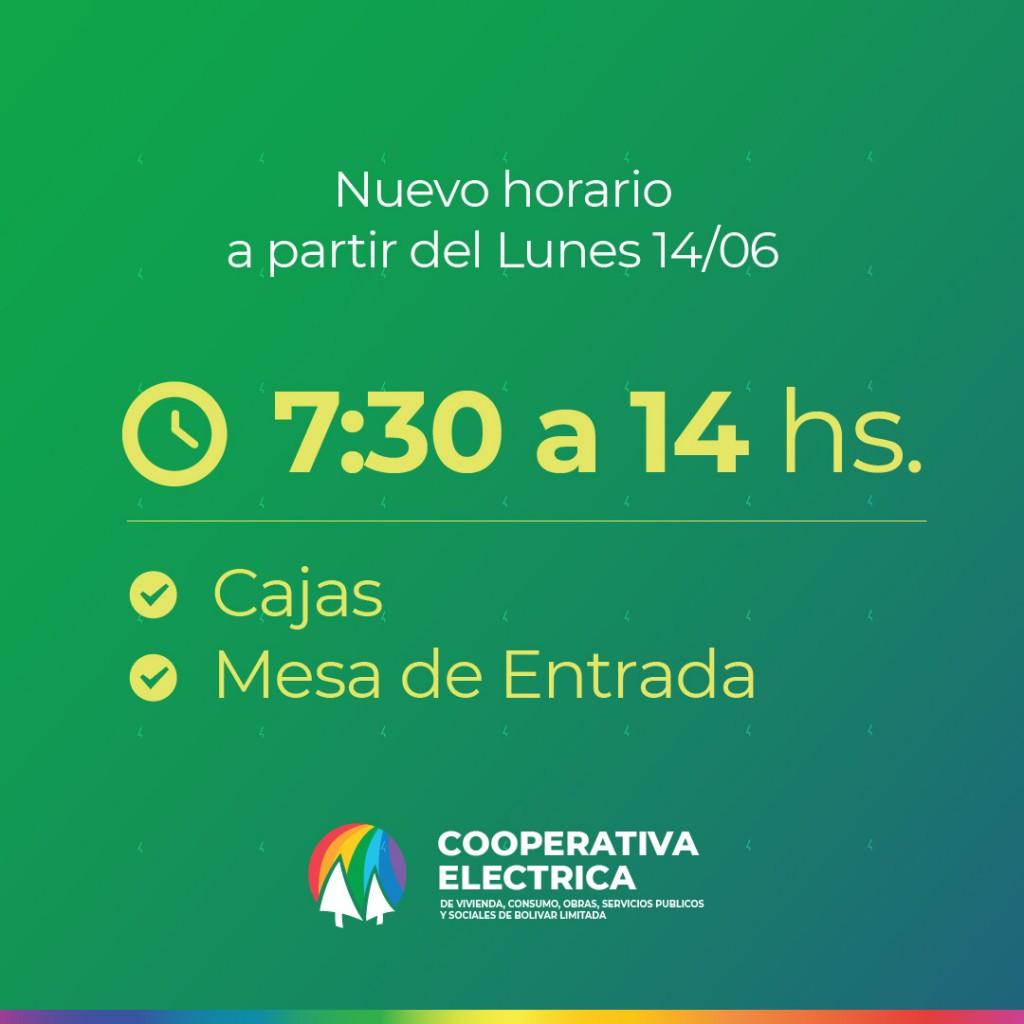La Cooperativa Eléctrica de Bolívar informa a sus asociados un nuevo horario de atención a partir del 14/06