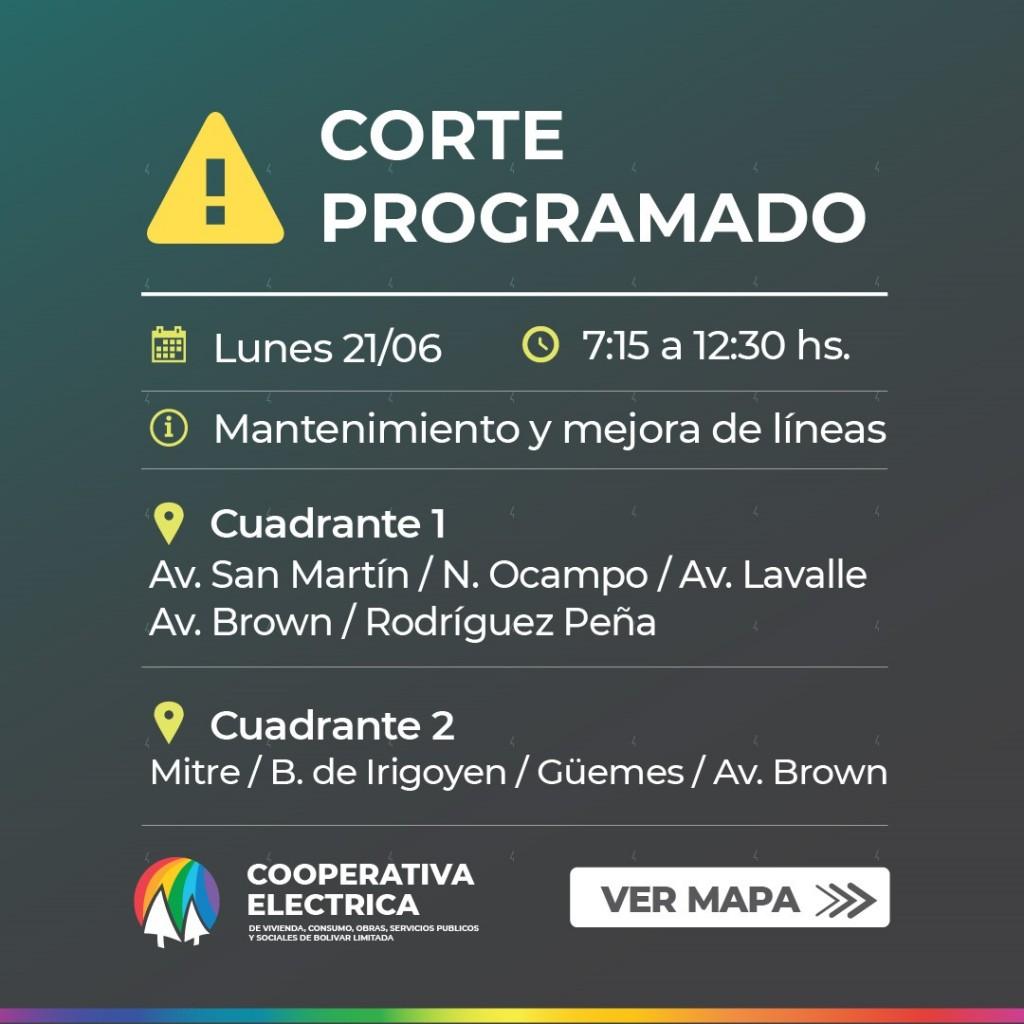 La Cooperativa Eléctrica de Bolívar informa sobre un corte programado para el día 21/6 de 07:15 a 12:30