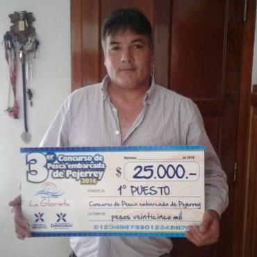 Ricardo Lazarte ganó 25 mil pesos en la  Tercera Edición del Concurso de Pesca de Embarcados en Daireaux