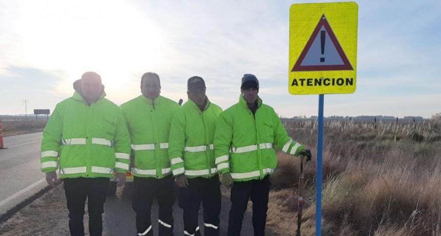 Seguridad Vial Municipal trabajó en la señalización de zona de riesgo de Ruta 65