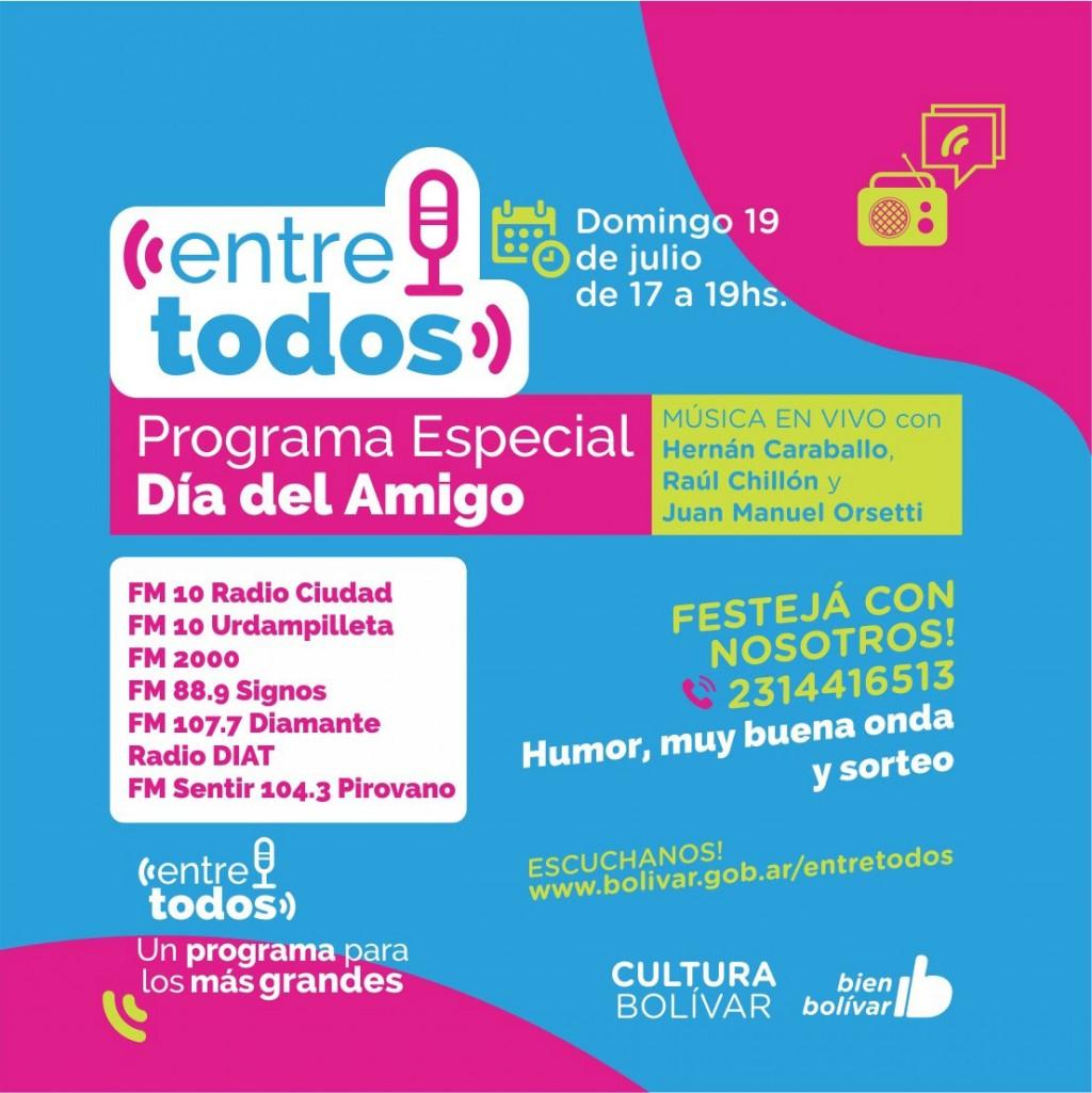 El programa radial municipal 'Entre Todos' festeja el Día del Amigo