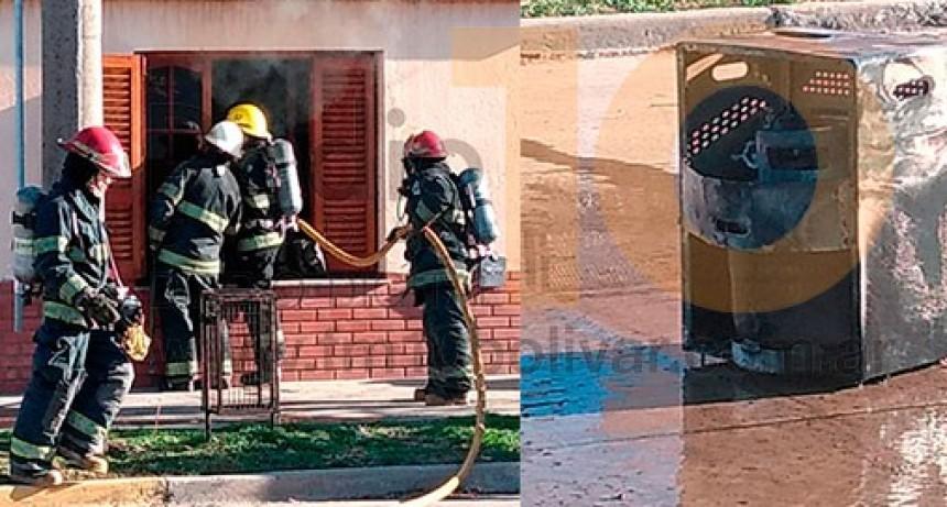 Bomberos asistieron a un principio de incendio en una vivienda