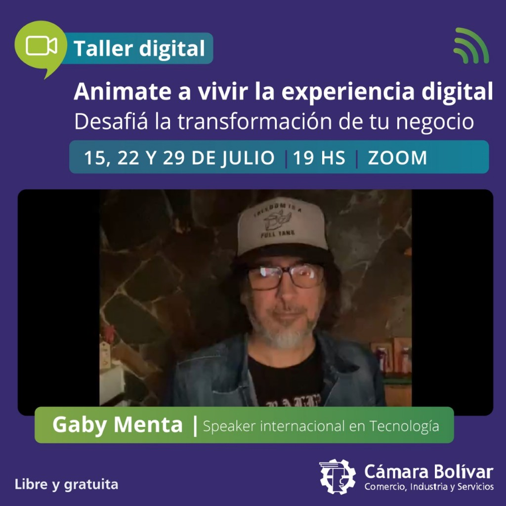 Cámara Comercial te invita a participar del Workshop Animate y vivir la experiencia digital, de la mano del Speaker Internacional en Tecnología Gaby Menta