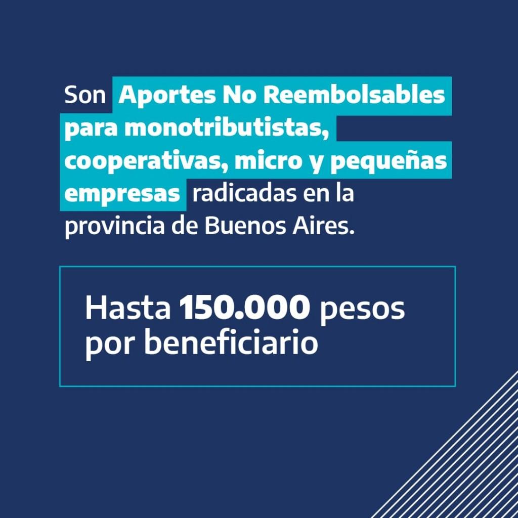 Programa de Sostenimiento Económico:  Monotributistas, Cooperativas, Micros o Pequeña Empresa, radicadas en la Provincia de Buenos Aires podrán recibir hasta 150 mil pesos