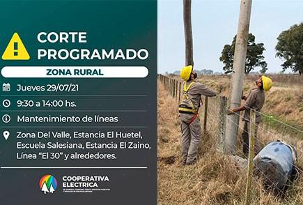 La Cooperativa Eléctrica informa sobre un corte de energía en la zona rural