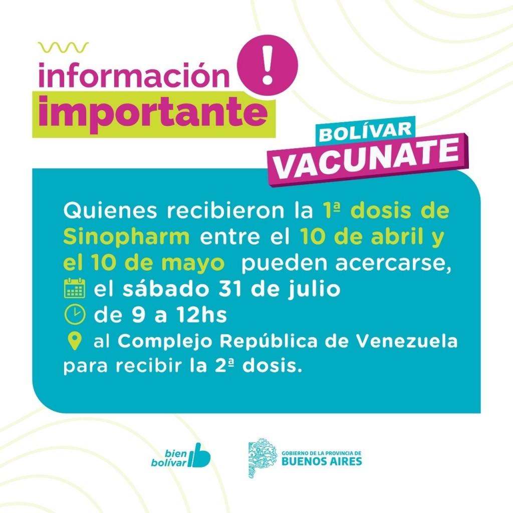 Convocan a quienes recibieron la primera dosis entre el 10 de abril y 10 de mayo, al Vacunatorio Municipal