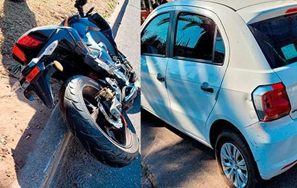 Una joven motociclista fue trasladada hacia el hospital tras una colisión con un vehículo
