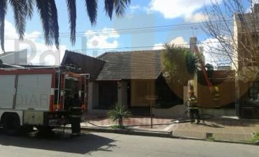 Incendio en una chimenea de una vivienda