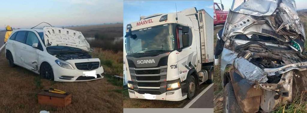 Accidente en ruta 5 km 397; tres vehículos involucrados