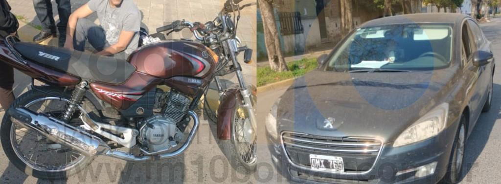 Impacto entre un auto y una moto dejo como saldo un motociclista hospitalizado de manera preventiva