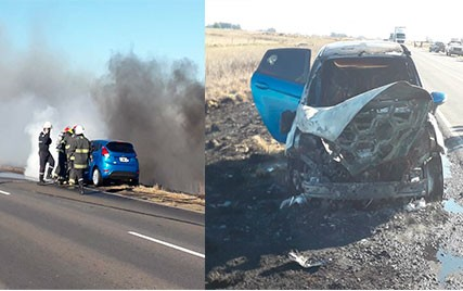 Incendio de un vehículo en Ruta 65