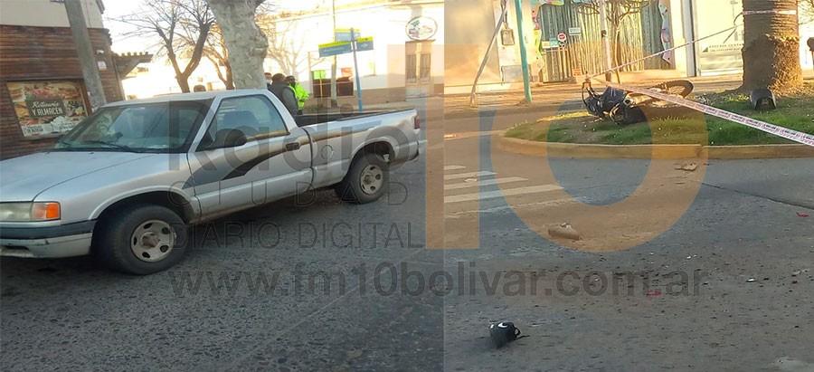 Impacto entre dos conductores, uno a bordo de una motocicleta y el restante en una camioneta