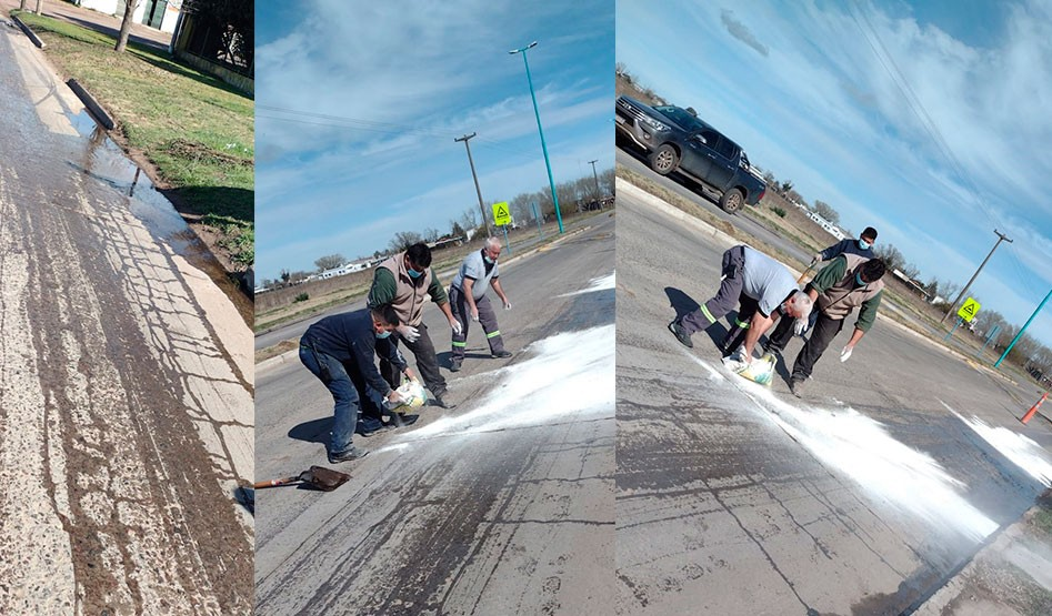 Agentes de Defensa Civil trabajaron en la limpieza de la cinta asfáltica en avenida Mariano Unzué