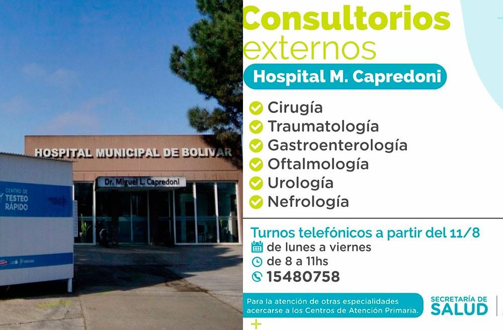 Se reanuda la atención en los Consultorios Externos del hospital Capredoni