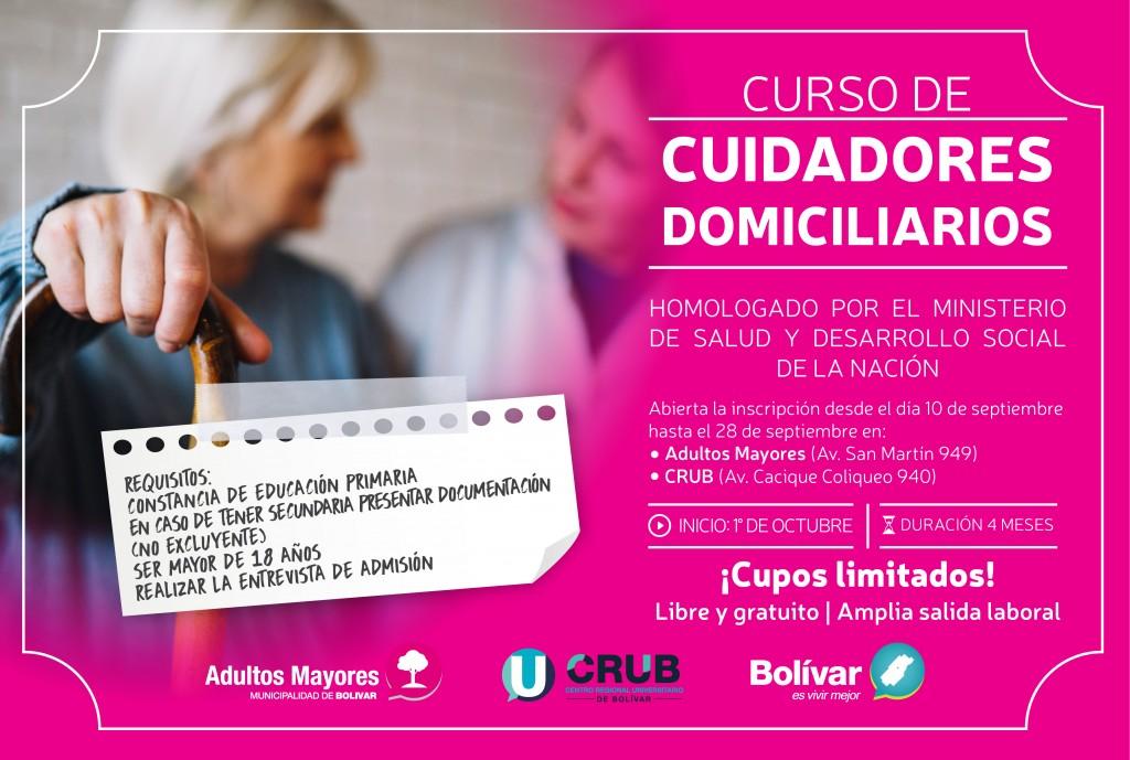 Últimos días para la inscripción al Curso de Cuidadores Domiciliarios