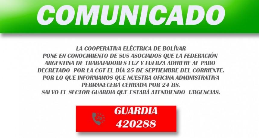 La cooperativa eléctrica no atenderá al público el próximo martes 25