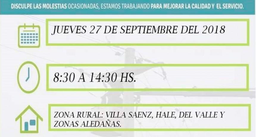 Corte de energía programada para el día jueves 27 en zona Villa Sanz-Hale