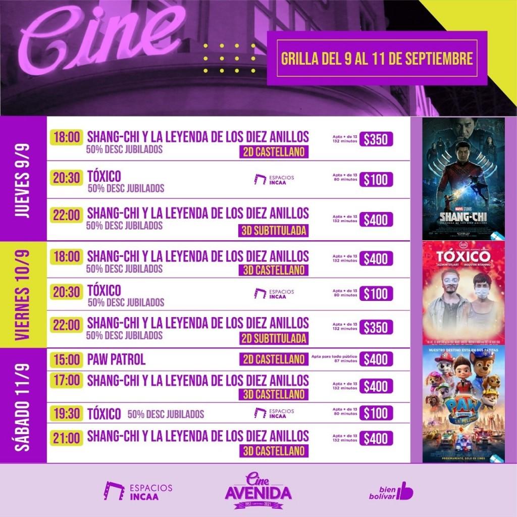 La grilla del fin de semana en el Cine Avenida