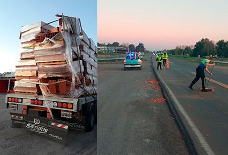 Un camión perdió parte de su carga