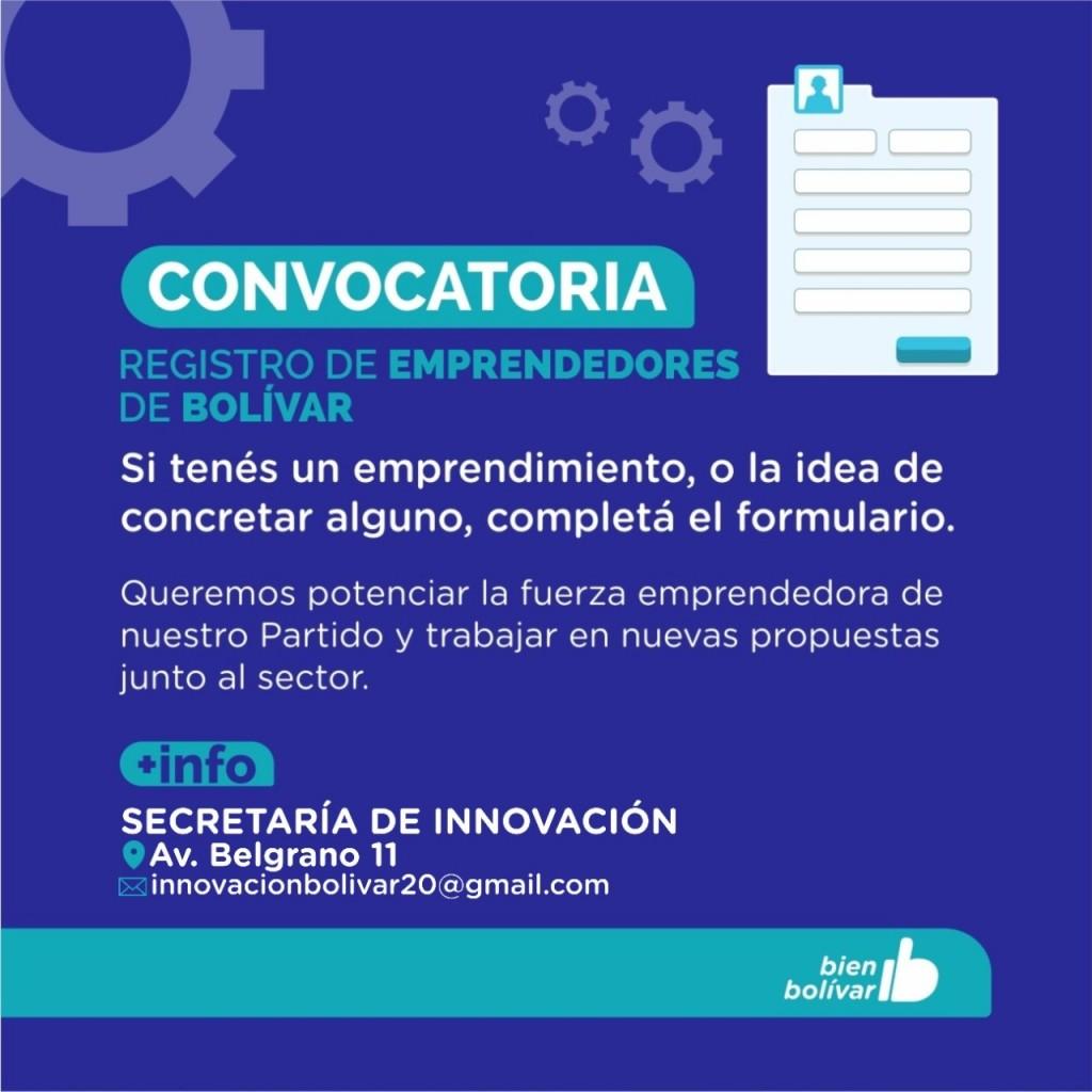 Registro de Emprendedores locales: Se encuentra abierta la inscripción en el Municipio de Bolívar