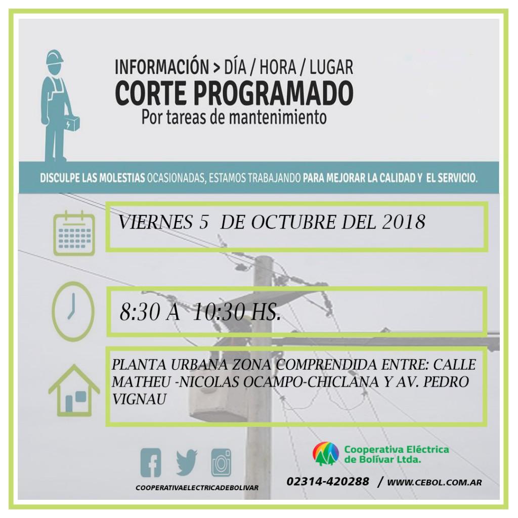 Corte de energía programado para la zona comprendida entre calle Matheu, Nicolas Ocampo, Chiclana y Av Pedro Vignau
