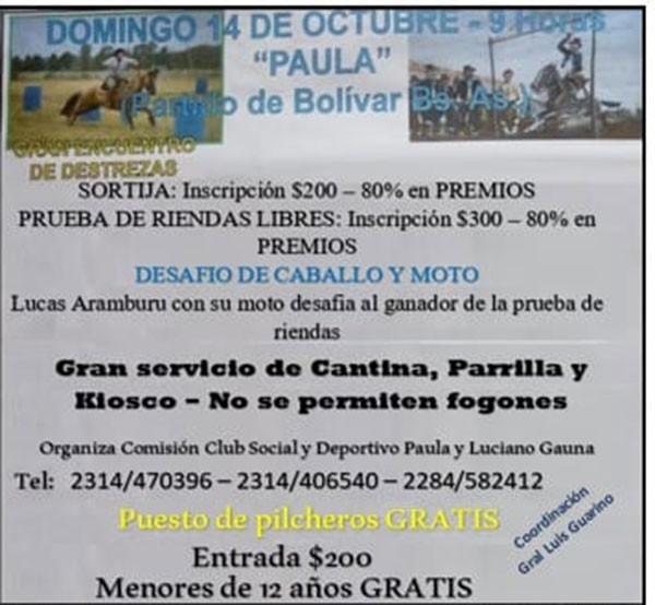 Gran Encuentro de Destrezas Criollas en Paula organizado por el Club Social y Deportivo Paula y Luciano Gauna
