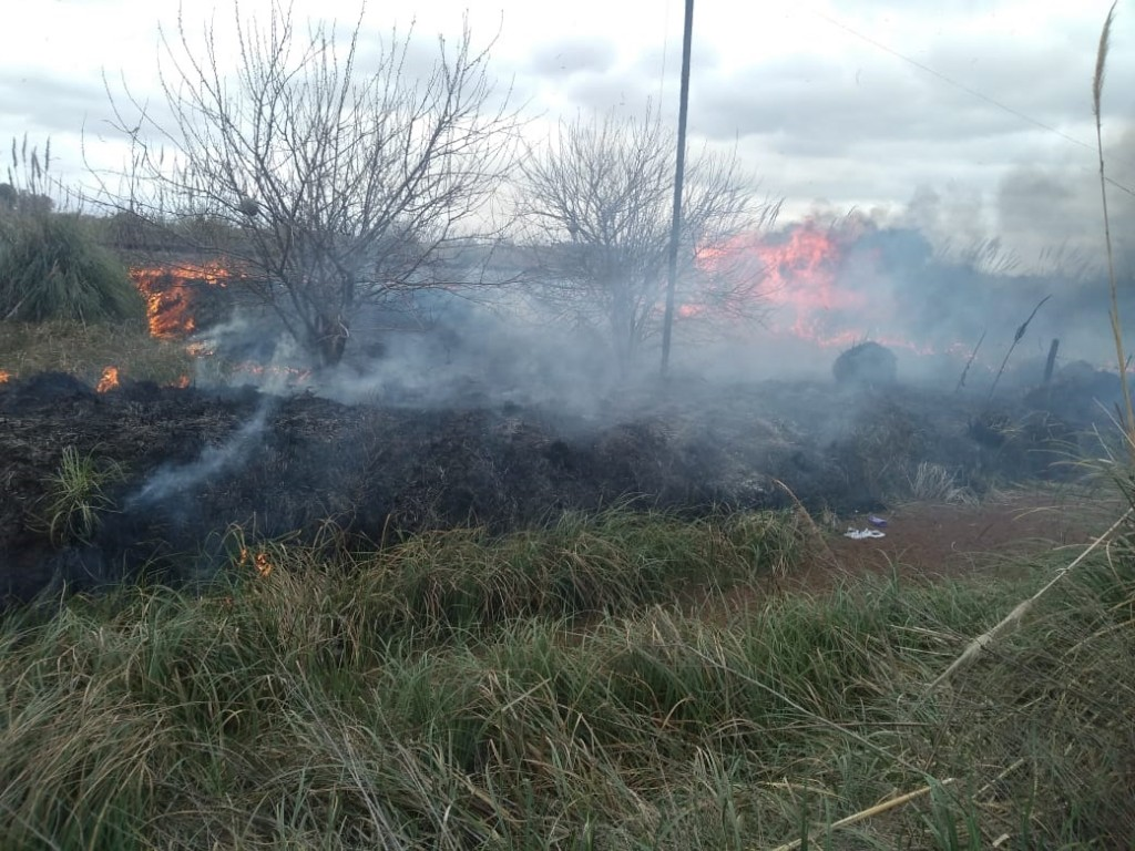 Salida de Bomberos Voluntarios hacia incendio de pastos naturales