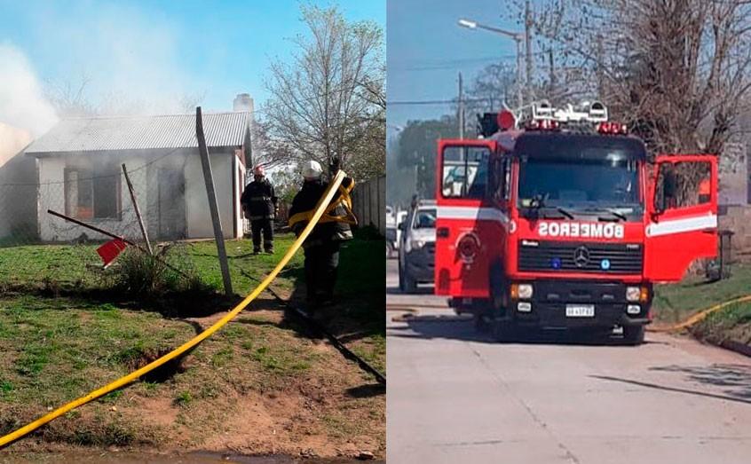 Incendio de una vivienda en Barrio Pompeya con pérdidas importantes