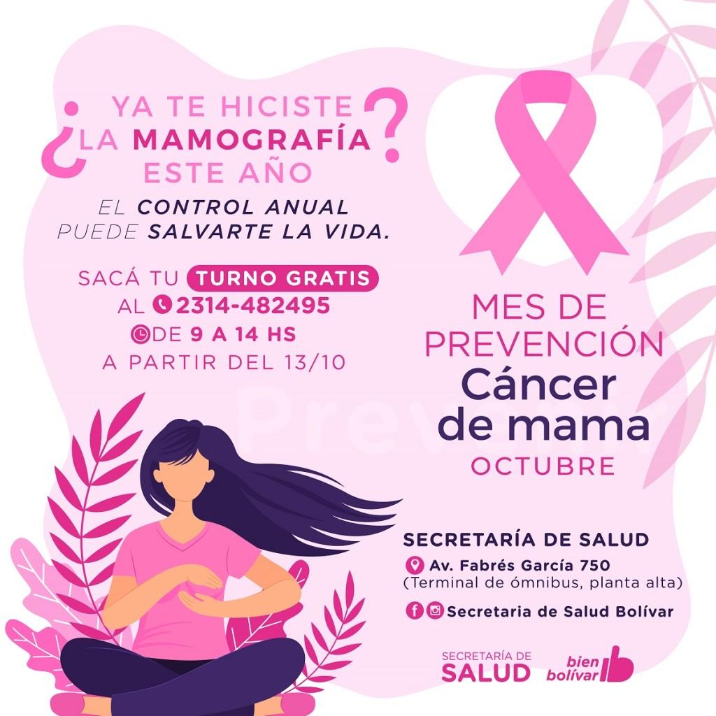 Durante el mes de prevención del cáncer de mama se realizarán controles gratuitos