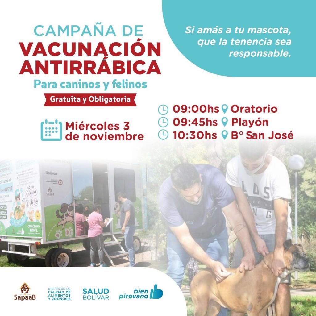 Vacunación antirrábica gratuita en Pirovano