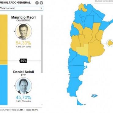 Resultados parciales: Así se ve el mapa de la República Argentina ahora