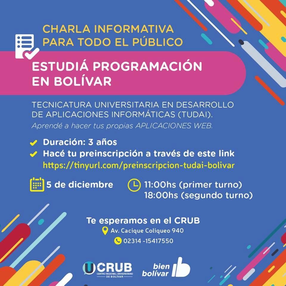 Se realizarán nuevas charlas informativas sobre la carrera TUDAI en el CRUB