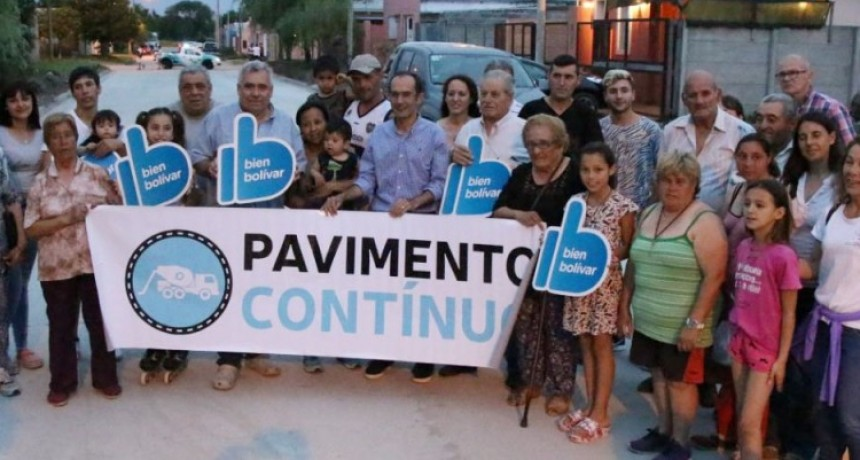 Pisano junto a los vecinos inauguró una nueva cuadra de Pavimento Continuo