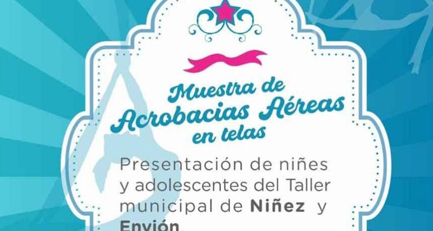 Muestra de acrobacias aéreas en tela del Taller Municipal de Niñez y Envión