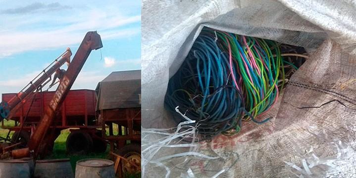 Detuvieron a un joven por el robo de cables en un campo