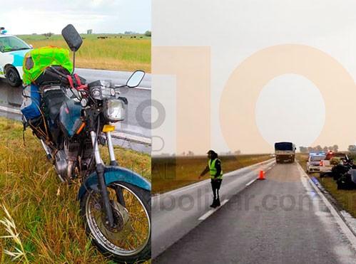 """Ruta 65: una pareja de moteros sufrió una caída en inmediaciones a """"Los Cuatro Vientos"""""""
