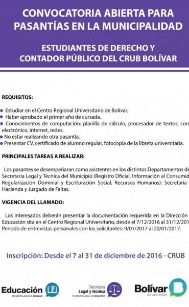 Está abierta la convocatoria para pasantías en la Municipalidad