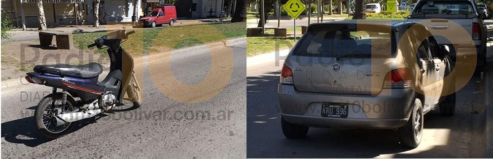 Leve impacto entre un auto y una moto, en avenida Brown