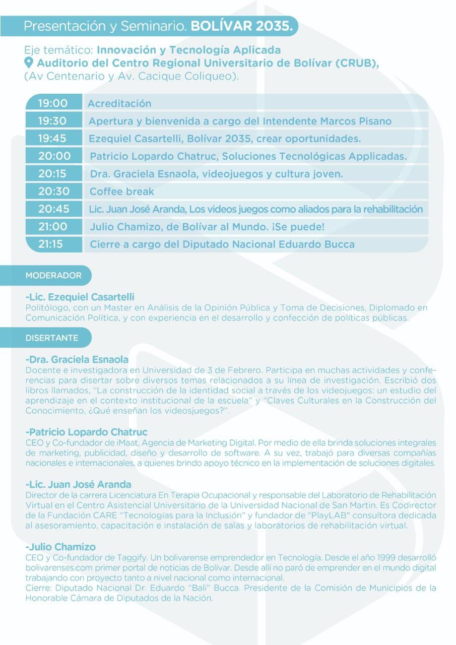 Presentación y seminario de Bolívar 2035