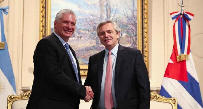 El presidente Alberto Fernández recibió al presidente de Cuba Miguel Díaz-Canel