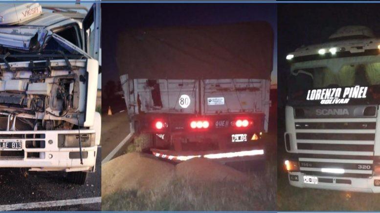Chocaron dos camiones en ruta 5, afortunadamente solo hierros doblados
