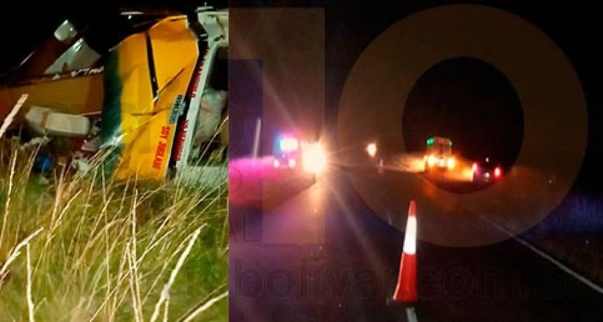 Bomberos y Policía asistieron a un vuelco en Ruta provincial 65